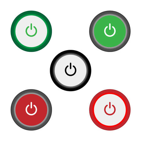 Set of 2 On Off push power buttons with dark grey background, The Off buttons are enclosed in red circle and the on buttons in green circle,
