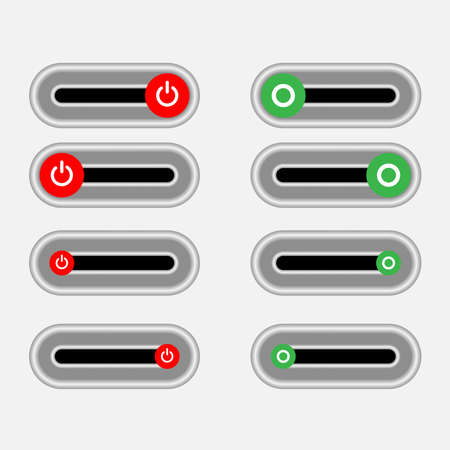 Set of 4 On Off slider style power buttons with black background, The Off buttons are enclosed in red circle and the on buttons in green circle, Illustration