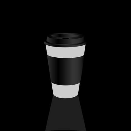 Takeaway Hot coffee cup, Can be any kind of hot drink like Hot green tea latte, Hot latte coffee or Cappuccino in white paper cup with multicolours lids and shadow in white background Çizim