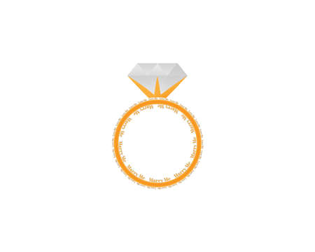 Weeding or engagement with letter Love me Marry me gold diamond ring in white background