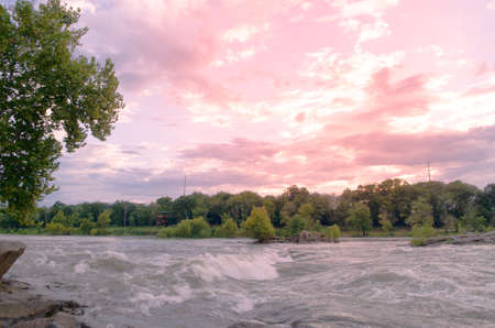 Sunset and sky at the Chattahoochee River in Columbus, Georgia, The United State - September.