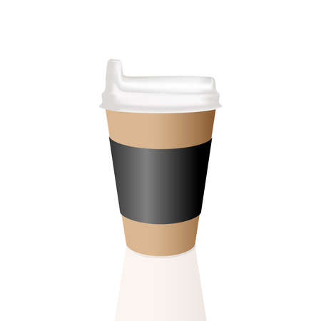 Takeaway Hot coffee cup, Can be any kind of hot drink like Hot green tea latte, Hot latte coffee or Cappuccino in brown paper cup with white lid and shadow in white background