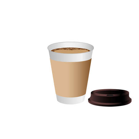 Takeaway Hot coffee cup, Can be any kind of hot drink like Hot green tea latte, Hot latte coffee or Cappuccino in white paper cup with brown lid and shadow in white background