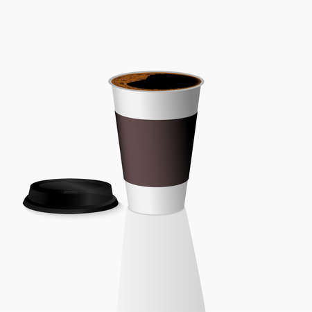 Takeaway Hot coffee cup, Can be any kind of hot drink like Hot green tea latte, Hot latte coffee or Cappuccino in white-grey paper cup with black lid and shadow in white background