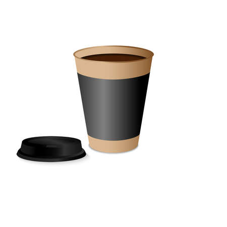 Takeaway Hot coffee cup in brown paper cup with black lid and shadow in white background