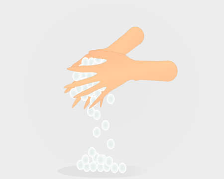 Washing hand with faom and alot bubbles in white background