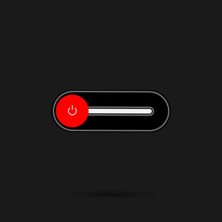 On Off switch toggle - slider style power buttons with shiny black shade neon light button round in black background, The Off buttons are enclosed in red circle in black background