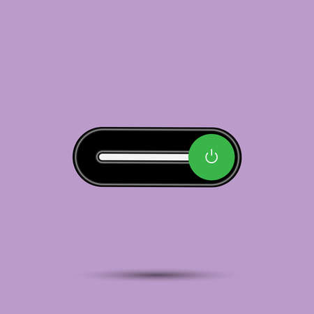 On Off switch toggle - slider style power buttons with shiny black shade neon light button round in black background, The On buttons are enclosed in green circle in soft purple background