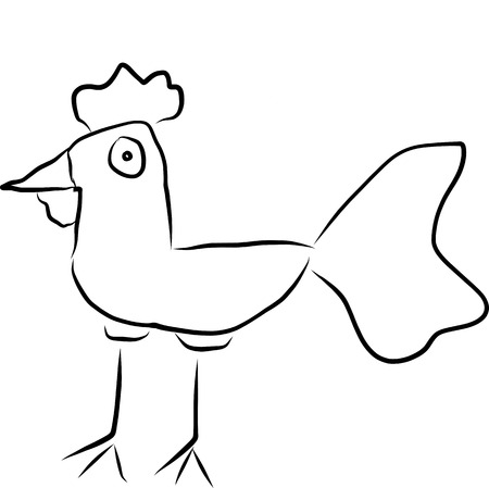A sketch picture digital art of cock stand alone