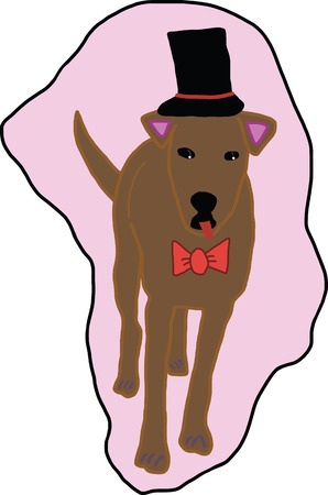 blooded: A picture digital art of tint brown dog was black hat and red bow tie Illustration