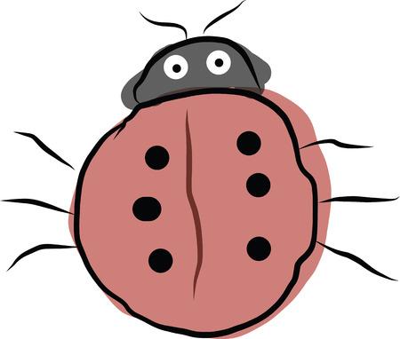 lady bug: Ein Bild der digitalen Kunst von kleinen rosa Lady Bug Illustration