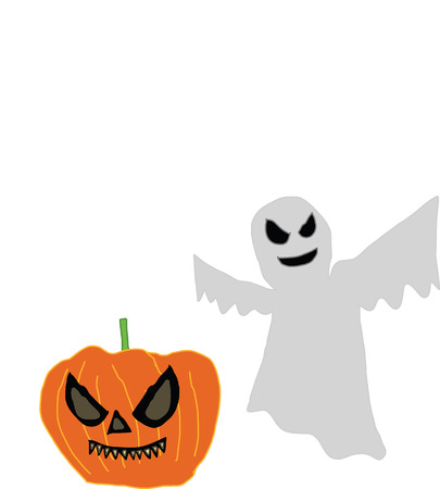 A picture digital art of pupmkin has fangs and ghost to be eerie Stock Vector - 23080712