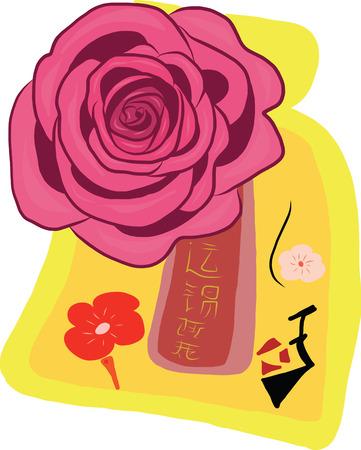A pink rose on yellow souvinir bag