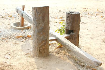 Handicraft wooden of Thai mortar put on ground