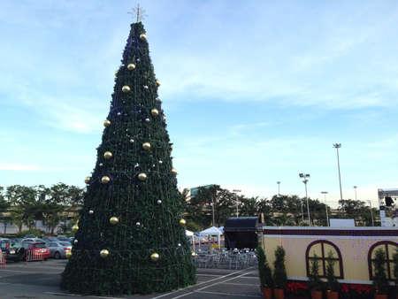 Christmas balls hang on Christmas tree