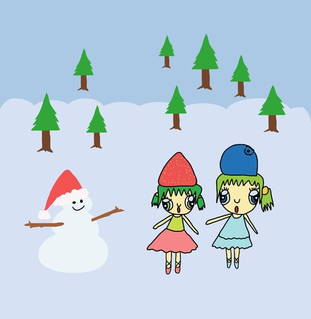 Two pretty girl and snowman in Christmas background Stock Photo
