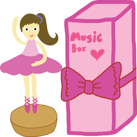Picture digital art of angel standing on music box and gift