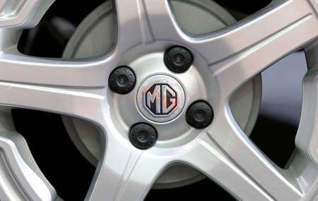 Bangkok - April 2 : logo of MG on wheel - in display at The 36th Bangkok international Motor Show 2015 on April 2, 2015 in Bangkok Thailand