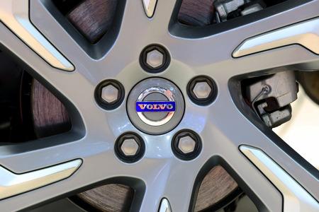 Bangkok - April 2 : logo of Volvo on wheel - in display at The 36th Bangkok international Motor Show 2015 on April 2, 2015 in Bangkok Thailand