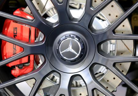 Bangkok - April 2 : logo of Mercedes Benz on wheel - in display at The 36th Bangkok international Motor Show 2015 on April 2, 2015 in Bangkok Thailand