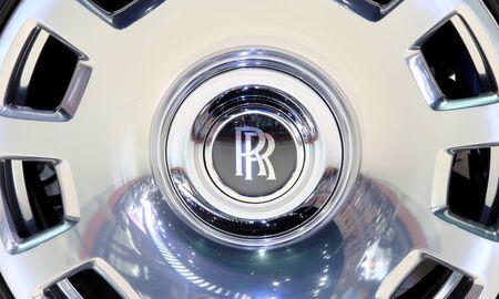 Bangkok - April 2 : logo of Roll Royce on wheel - in display at The 36th Bangkok international Motor Show 2015 on April 2, 2015 in Bangkok Thailand