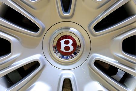 Bangkok - April 2 : logo of Bentley on wheel - in display at The 36th Bangkok international Motor Show 2015 on April 2, 2015 in Bangkok Thailand Editorial