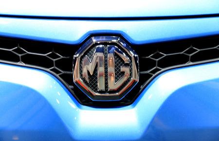 gill: Bangkok - April 2 : logo of MG on front gill - in display at The 36th Bangkok international Motor Show 2015 on April 2, 2015 in Bangkok Thailand Editorial