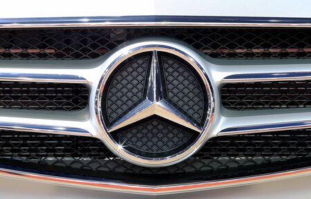 Bangkok - April 2 :close up logo of Mercedes Benz on bumper - in display at The 36th Bangkok international Motor Show 2015 on April 2, 2015 in Bangkok Thailand