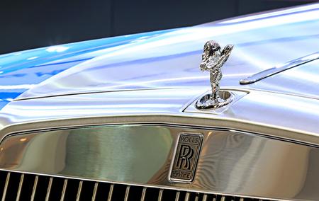 Bangkok - April 2 :logo of Rolls Royce on bumper - in display at The 36th Bangkok international Motor Show 2015 on April 2, 2015 in Bangkok Thailand Editorial