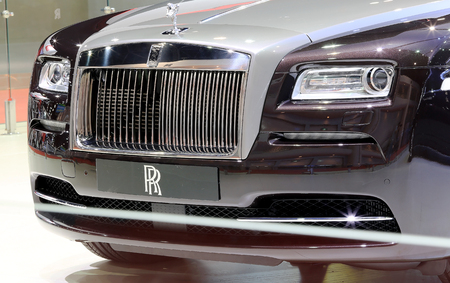 car grill: Bangkok - April 2 : front grill of black Rolls Royce luxury car in display at The 36th Bangkok international Motor Show 2015 on April 2, 2015 in Bangkok Thailand Editorial