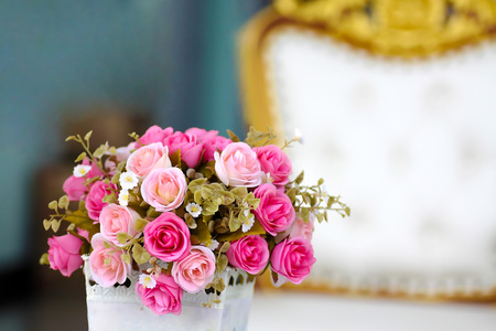 close up pink rose bouquet in luxury living room