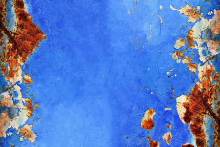 rust texture on blue metal background Stock Photo
