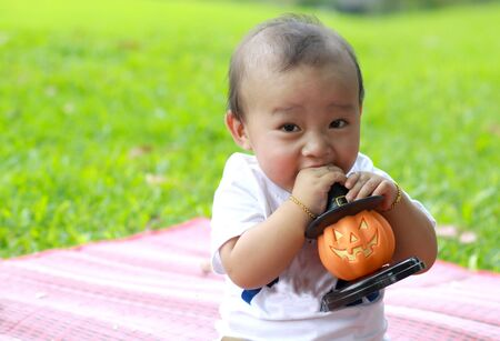 baby toys: Close up portrait of Asian boy hold pumpkin doll in hand with garden background Stock Photo
