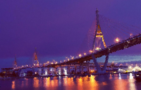 rope bridge: polygon , rope bridge with twilight sky