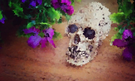 frightful: polygon , abstract background of skull on wooden floor