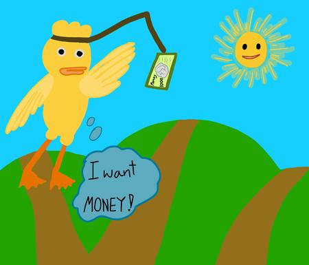 """Vektor-Konzept; Cartoon schlechte gelbe Ente geworden verarmten versuchen, etwas Geld zu greifen und zu denken: """"Ich will Geld"""" Standard-Bild - 67943481"""