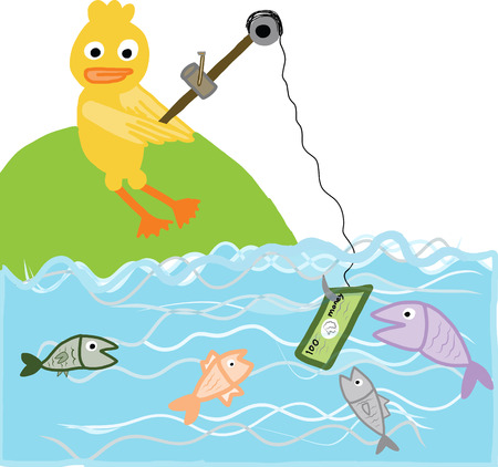 vector concept of cartoon yellow duck fishing a banknote