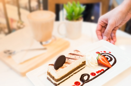 tiramisu dessert on table in coffee time , selective focused Stock Photo