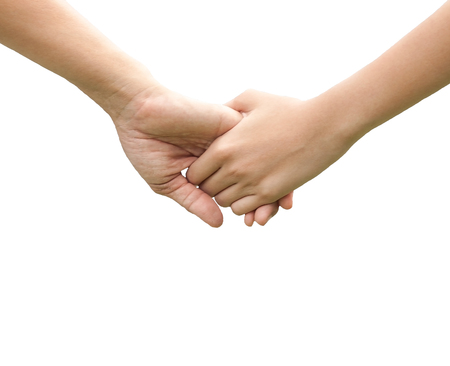 close up human hands holding together on white background