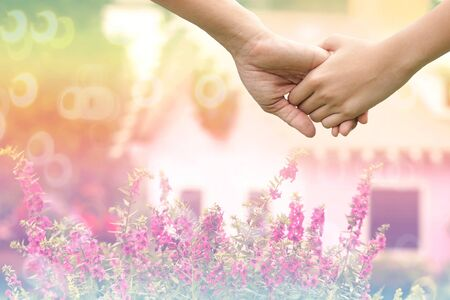 lover hands holding together on de-focused of pink flowers in garden with  little vintage houses , family , help and support concept Stock Photo