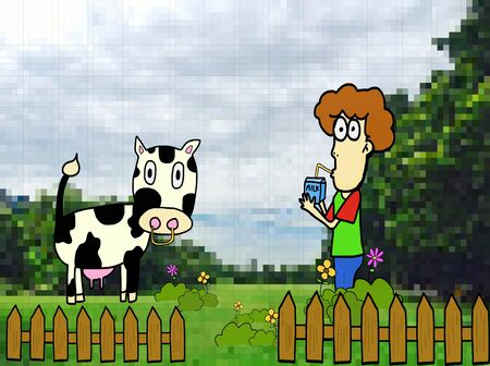 A handsome boy standing in cow farm with drinks milk and wooden fence among blossoming meadow.Concept for healthy food. Cartoon, vector illustration
