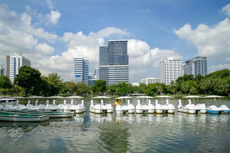 Lake view of Lumpini Park in Bangkok , city lifestyle concept