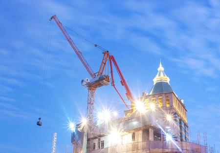 Construction and twilight light scene Stock Photo