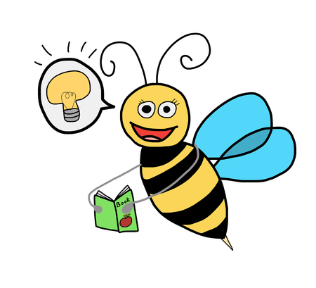 happy bee reading book , self esteem and education concept Illustration