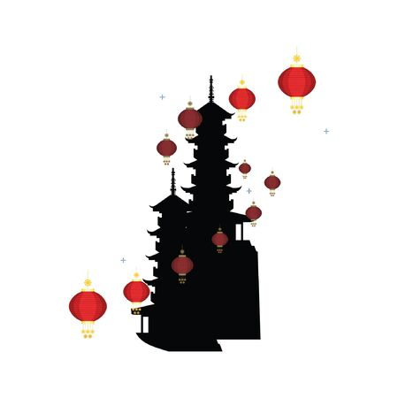 Chinese pagoda silhouette with Chinese lamp on white background.