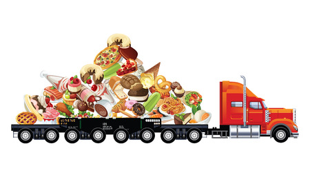 Road transportation of fast food in back of truck on white background.