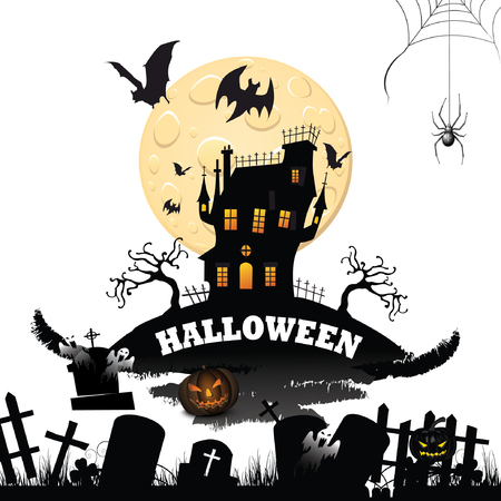 Halloween night background with dark horror full moon, pumpkin and creatures.