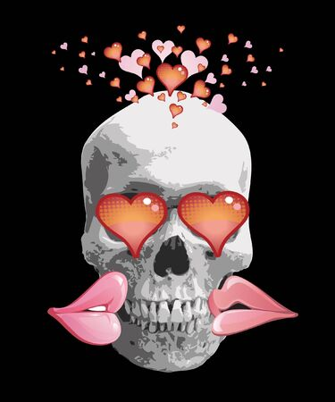 ironic: Lovely skull with heart eyes. Valentines Day illustration Skull with heart eyes and lips. Illustration