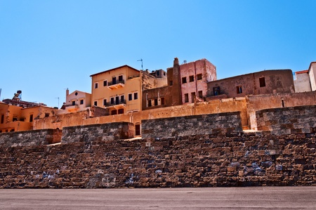 kreta: View of an old  building in the greek town of Chania Crete.