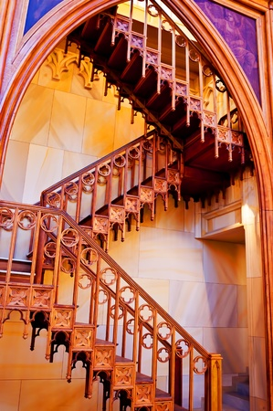 Wooden staircase inside of catholic church in Berlin, Germany